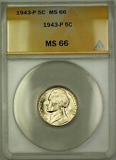 1943-P U.S. Wartime Silver Jefferson Nickel 5c Coin ANACS MS-66 (F)