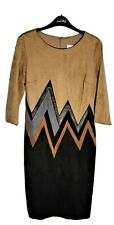 Joseph Ribkoff Brown Black Vegan Suede Leather Chevron Sheath Dress size 8