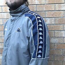 KAPPA Size L Vintage 90s Windbreaker Jacket Grey Hooded Large Logo