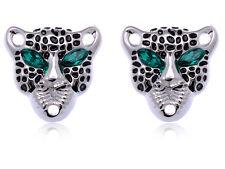 Cute Emerald Rhinestone Eyed Black Spots Cheetah Button Fashion Costume Earrings