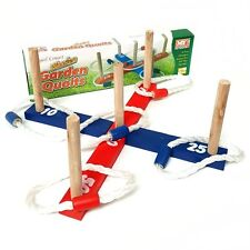 Wooden Quoits Garden Ring Toss Game - Fun Summer Family Game Toy Activity