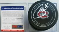 PSA/DNA COA ANDREW SHAW SIGNED MONTREAL CANADIENS OFFICIAL GAME PUCK NHL