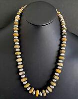 Sterling Silver Bumblebee Jasper W Navajo Pearls Bead Necklace. 25 inch
