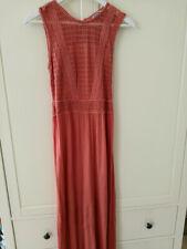 H&M Long Maxi  coral  Lace jersey Dress abaya  holiday beach Summer 10 12 tall