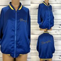 NWT Wrangler Satin Retro Cowgirl Rodeo Bomber Zip Up Blue Jacket Womens SZ XL