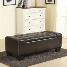 "51"" Elegant Contemporary Brown Faux Leather Storage Ottoman Bench w/ Tufted Top"