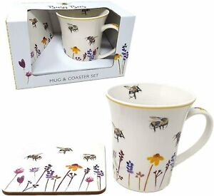 Busy Bees Mug & Coaster Set Fine China Floral Design Tea Coffee Cup Gift Boxed