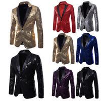 MenS Glitter Sequin Suit Jacket Blazer Fancy Show Costume Party Top Coat Wedding