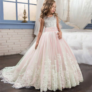 Kid Girl Lace Princess Bridesmaid Pageant Tutu Dress Tulle Gown Wedding Dress f