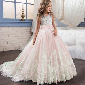 Kids Girls Lace Princess Bridesmaid Pageant Tutu Dress Tulle Gown Wedding Dress