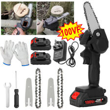 More details for 800w 100v mini electric cordless chainsaw one-hand saw wood cutter w/2 battery