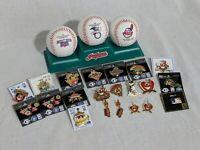 Vintage Cleveland Indians Baseball Memorabilia Lot Pins Earrings 1995 1996 1997