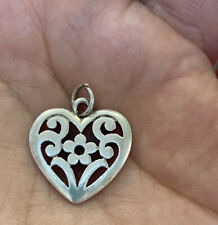 James Avery Sterling Silver Floral Flower Heart Charm or Pendant