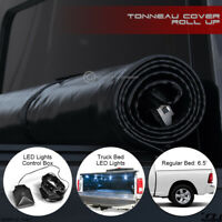 For 2002-2009 Dodge Ram 6.5 Ft Truck Bed Lock & Roll-Up Tonneau Cover+LED Lights