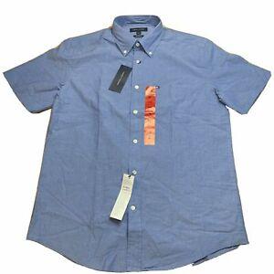New Tommy Hilfiger Men Blue Short Sleeve Button Down Shirt Sz LARGE