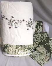 """NEW JCP Home Drapery Panel Pair w/ Tie Backs 42"""" x 63"""" Cream/Green/White Floral"""