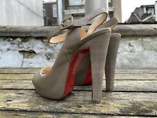 100% Authentic Grey CHRISTIAN LOUBOUTIN Peeptoe Platform Heels size 36,5