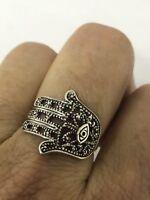Vintage Hamsa Hand of God Filigree 925 Sterling Silver Size 7 Ring