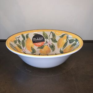 NEW Il Mulino Melamine Lemons Floral Yellow Large Serving Bowl 11""