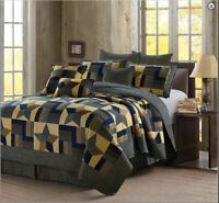 Navy Woodland Primitive Barn Star Printed Quilt Set Country Farmhouse Lodge