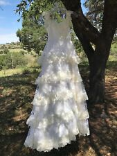 Vintage Boho Garden Wedding Union Made Sz Xxs Tiered Ivory Cream Lace Dress