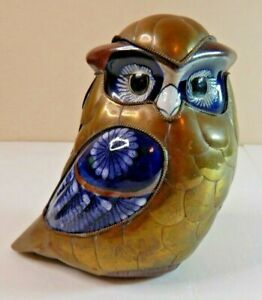 """Vintage Ceramic and Brass Owl Blue White Accenting Owl Home Decor Figurine 6"""""""