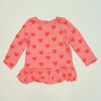 Gap Girls Pink Heart Long Sleeve Frill Tee/Top Size 2/3/4/5/6 BNWT