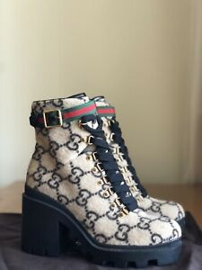 Stunning Authentic Gucci Trip GG Monogram Wool Leather Combat Boots EU 39 US 9