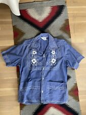 Vintage 1970s Mens Denim Shirt Haiti 60s 70s Hippie Embroidered