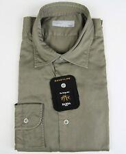 New Barba Napoli Dandylife Khaki Green Shirt Italy Slim Fit Size 15.5 39 NWT