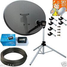 Freesat / Sky 80cm Zone 2 Satellite Dish,Quad,Tripod,finder & 20m Black RG6 Coax