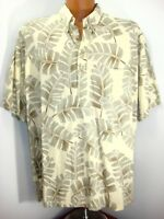 Cooke Street Men Hawaiian Floral Reverse Print Hawaiian 1/4 Button Shirt 2XL USA