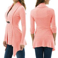 Women Long Sleeve Sweater Top Casual Irregular Knitted Cardigan Outwear Coat q1