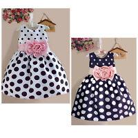 2018 Princess Baby Kids Girls Dress Party Polka Dot Flower Gown Fancy Dress 2-7Y