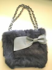 Hanaa-fu Japanese Designer Rabbit Fur & Grey Leather Chain Purse Handbag