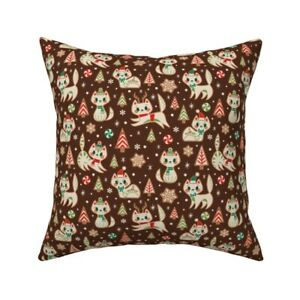 Cats Holiday Christmas Cookies Throw Pillow Cover w Optional Insert by Roostery