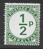 GIBRALTAR POSTAL ISSUE - POSTAGE DUE 1971 MINT NEVER HINGED STAMP - 1/2p GREEN