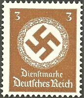 DR Nazi 3rd Reich Rare WW2 Stamps 1942-44 Big Swastika Oficial Service Stamp