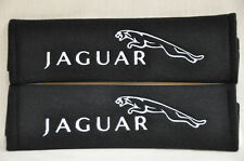 Black Seat Belt Cover Shoulder Pad Pairs with White Embroidery Jaguar Logo