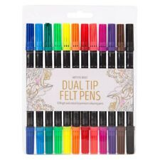 20x DUAL TIPPED FELT PENS Double Ended Colouring Tips Colour Fibre Set Child UK