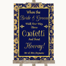 Wedding Sign Poster Print Blue & Gold Confetti