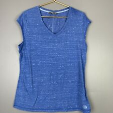 The North Face Womens Size XL Short Sleeve Heather Blue V Neck Tshirt