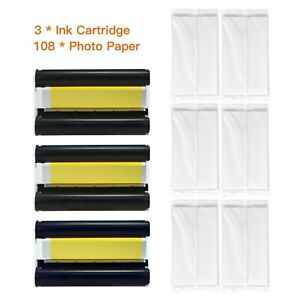 Thermal Sublimation Photo Paper Set KP-108IN 3PCS Color Ink Cartridge 108 Sheet