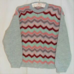 Ladies Hand Knitted Brushed Striped Jumper