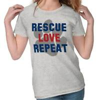 Rescue Love Repeat Pet Rescue Adoption Dog Person Paw Cute Ladies Tee Shirt T