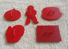 Vintage Tupperware 5 Red Plastic Cookie Cutters, Flag, Pumpkin,Turkey, Cake, Boy