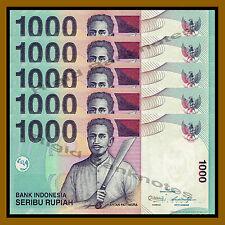 5 Pcs x Indonesia 1000 Rupiah, 2013 P-141m Unc