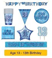 AGE 13 - Happy 13th Birthday BLUE GLITZ - Party Balloons, Banners & Decorations