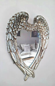 Small Antiqued Silver Angel Wings Mirror Vintage Ornate Heart Wall Mirror Decor
