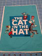 """Fabric Dr Seuss Cat in the Hat Characters Blue Quilt Sq 11 1/2"""" X 8  1/2"""""""